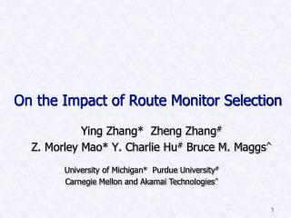On the Impact of Route Monitor Selection