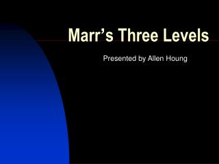 Marr s Three Levels