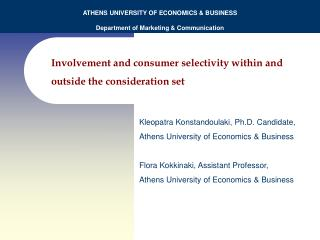 Involvement and consumer selectivity within and outside the consideration set
