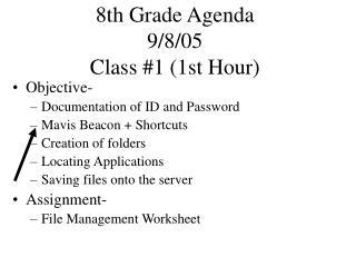 8th Grade Agenda 9