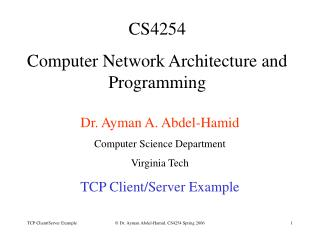 CS4254  Computer Network Architecture and Programming