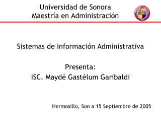 Universidad de Sonora Maestr a en Administraci n