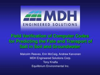 Field Verification of Computer Codes  for Predicting the Fate and Transport of Salt in Soil and Groundwater