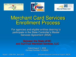 Merchant Card Services Enrollment Process