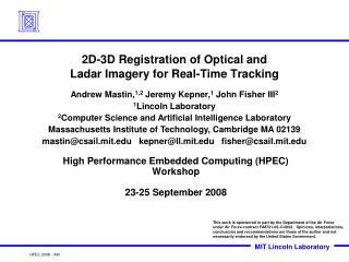 2D-3D Registration of Optical and  Ladar Imagery for Real-Time Tracking