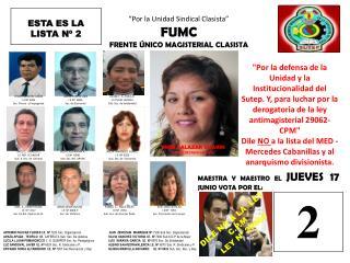 Por la Unidad Sindical Clasista  FUMC FRENTE  NICO MAGISTERIAL CLASISTA