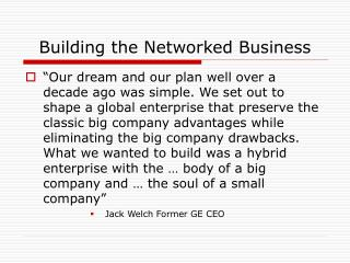 Building the Networked Business