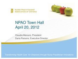 NPAO Town Hall  April 20, 2012
