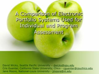 A Comparison of Electronic Portfolio Systems Used for Individual and Program Assessment