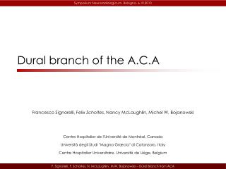 F. Signorelli, F. Scholtes, N. McLaughlin, M.W. Bojanowski   Dural Branch from ACA