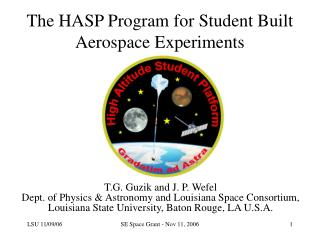 The HASP Program for Student Built Aerospace Experiments
