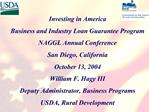 Investing in America  Business and Industry Loan Guarantee Program  NAGGL Annual Conference  San Diego, California  Octo