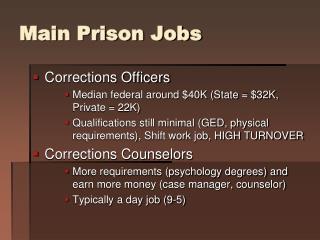 Main Prison Jobs