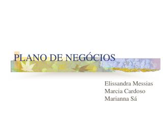 PLANO DE NEG CIOS