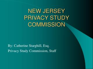 NEW JERSEY PRIVACY STUDY COMMISSION