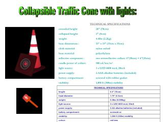 Collapsible Traffic Cone with lights: