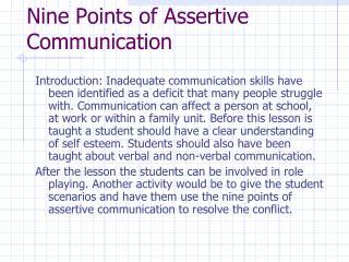 Nine Points of Assertive Communication