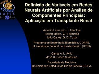 Defini  o de Vari veis em Redes Neurais Artificiais por An lise de Componentes Principais: Aplica  o em Transplante Rena