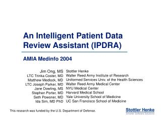 An Intelligent Patient Data Review Assistant IPDRA