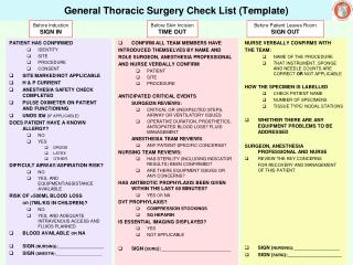 General Thoracic Surgery Check List Template