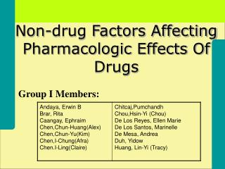 Non-drug Factors Affecting Pharmacologic Effects Of Drugs