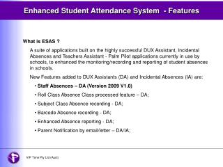 Enhanced Student Attendance System  - Features
