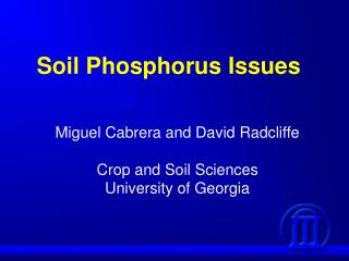 Soil Phosphorus Issues
