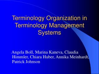 Terminology Organization in Terminology Management Systems