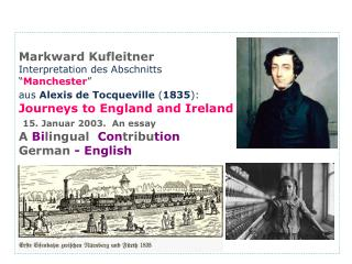 Markward Kufleitner Interpretation des Abschnitts   Manchester   aus Alexis de Tocqueville 1835:  Journeys to England an