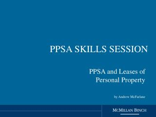 PPSA SKILLS SESSION