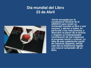 D a mundial del Libro 23 de Abril