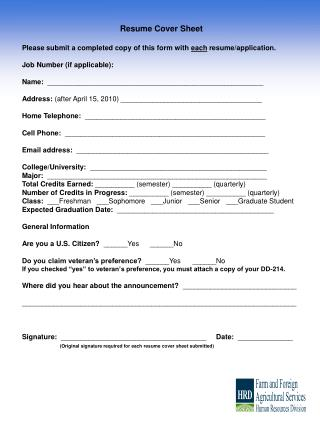 Resume Cover Sheet   Please submit a completed copy of this form with each resume