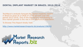 Dental Implant Market in Brazil Trends 2012-2016:MarketResea