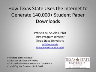 How Texas State Uses the Internet to Generate 140,000 Student Paper Downloads