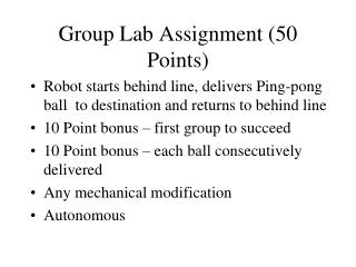 Group Lab Assignment 50 Points