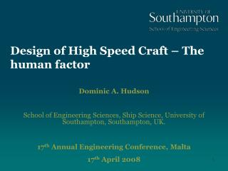 Design of High Speed Craft   The human factor