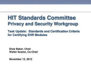 HIT Standards Committee Privacy and Security Workgroup  Task Update:  Standards and Certification Criteria for Certifyin