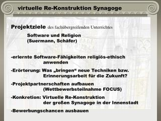 Virtuelle Re-Konstruktion Synagoge
