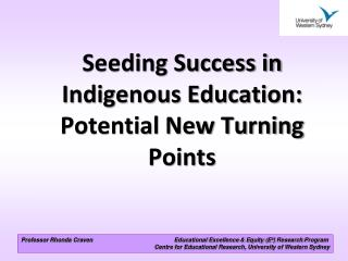 Professor Rhonda Craven                                                  Educational Excellence  Equity E  Research Prog