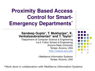 Proximity Based Access Control for Smart-Emergency Departments