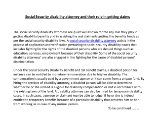 Social Security disability attorney and their role in gettin