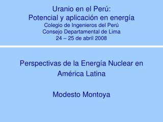 Uranio en el Per :  Potencial y aplicaci n en energ a Colegio de Ingenieros del Per  Consejo Departamental de Lima 24