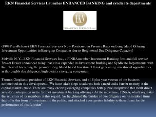 EKN Financial Services Launches ENHANCED BANKING and syndica