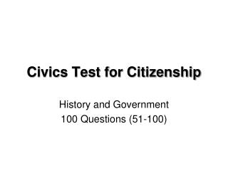 Civics Test for Citizenship