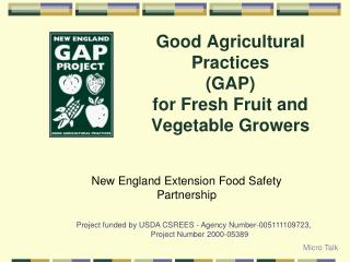 Good Agricultural Practices  GAP for Fresh Fruit and Vegetable Growers