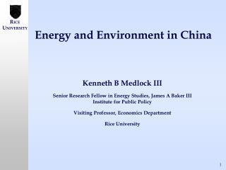 Energy and Environment in China