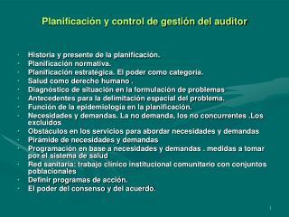 Planificaci n y control de gesti n del auditor
