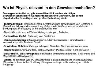 Wo ist Physik relevant in den Geowissenschaften