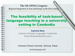 The feasibility of task-based language teaching in a university setting in Cambodia