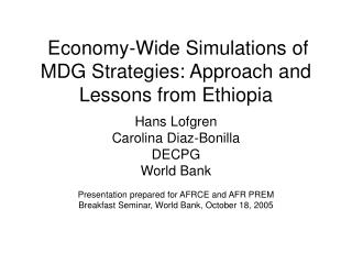 Economy-Wide Simulations of MDG Strategies: Approach and Lessons from Ethiopia